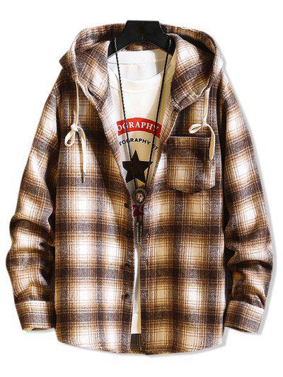 Hooded Plaid Print Button Up Shirt - Light Brown L