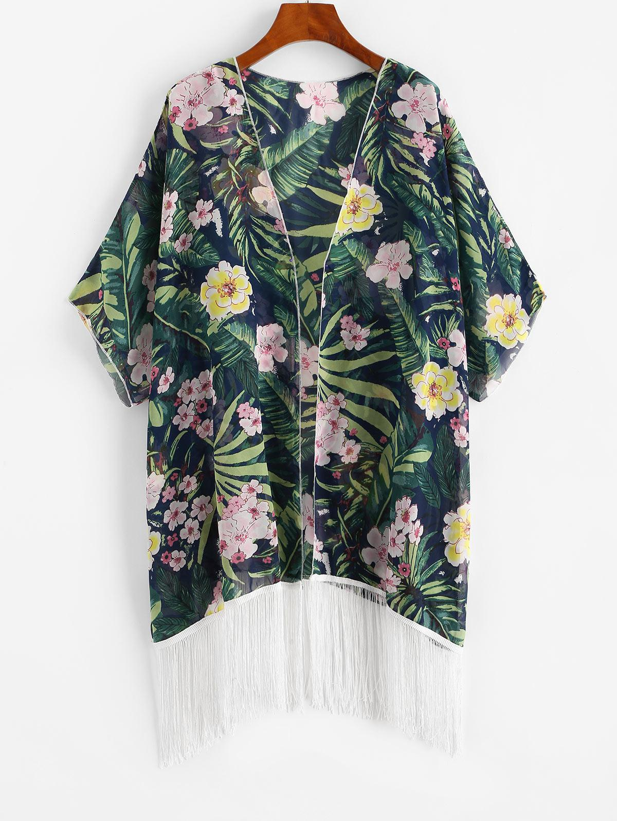 Open Front Fringed Floral Plus Size Beach Cover Up