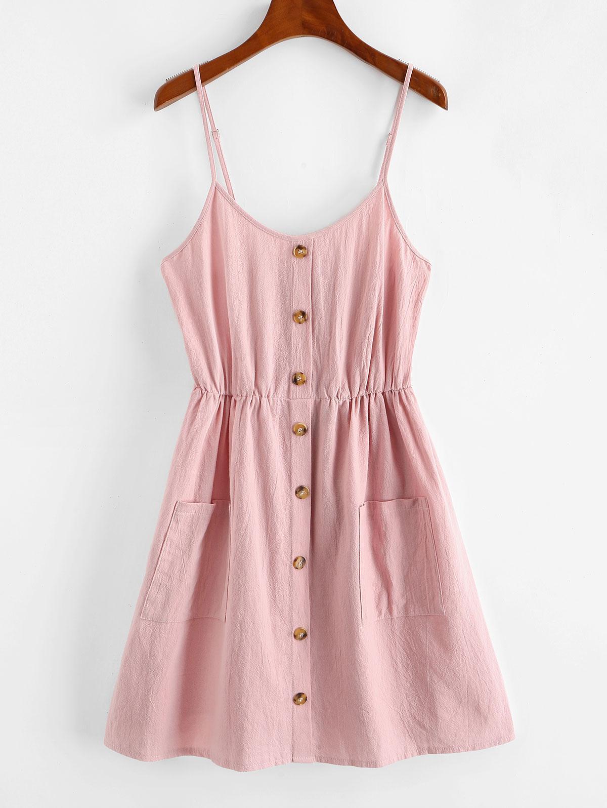 ZAFUL Smocked Mock Button Cami Pocket Dress