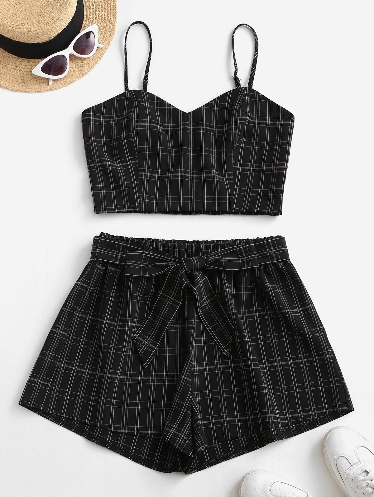 ZAFUL Plaid Belted Smocked Shorts Set