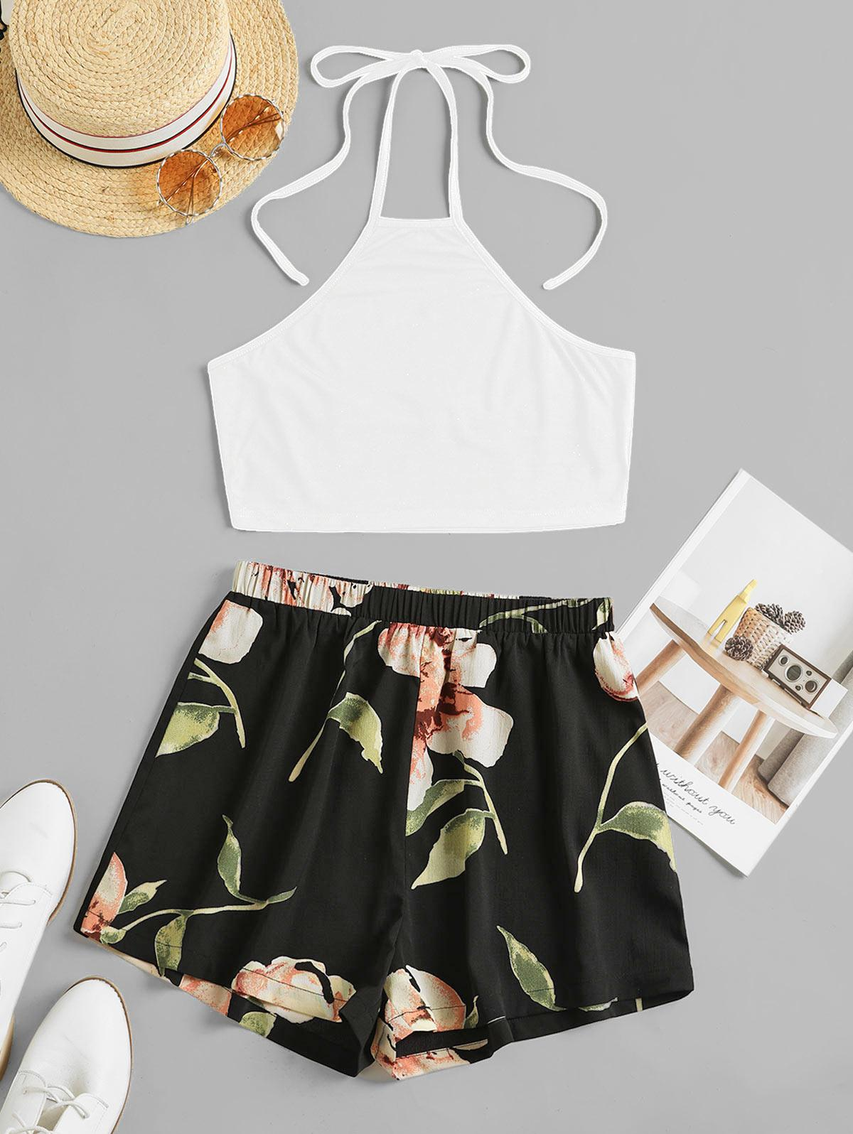 ZAFUL Flower Print Halter Contrast Two Piece Set