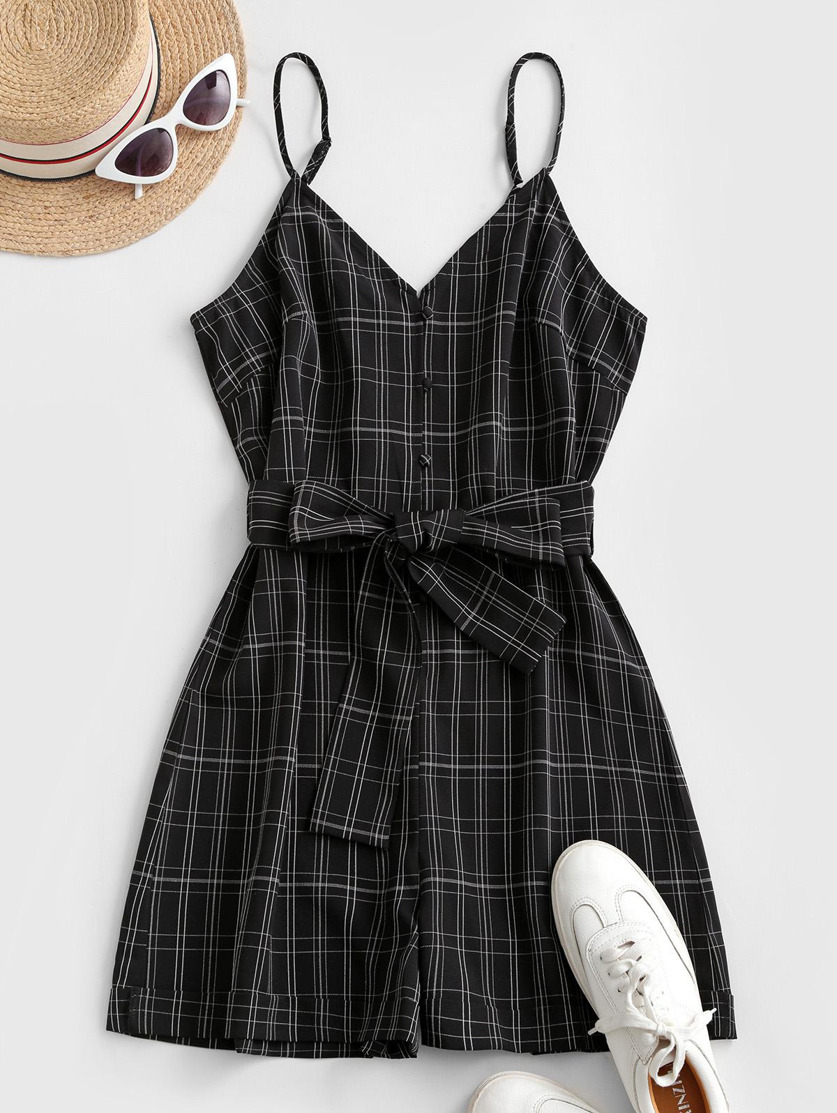 ZAFUL Plaid Loop Button Rolled Hem Belted Romper
