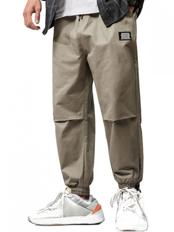 new Letter Applique Drawstring Tapered Cargo Pants - LIGHT KHAKI 2XL