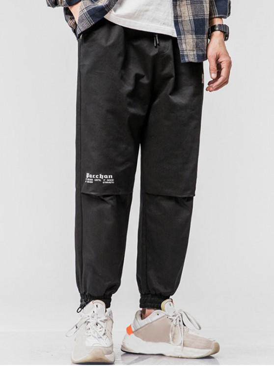 outfit Letter Applique Drawstring Tapered Cargo Pants - BLACK S