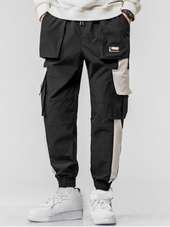 women Chinese Character Applique Contrast Cargo Jogger Pants - BLACK XS