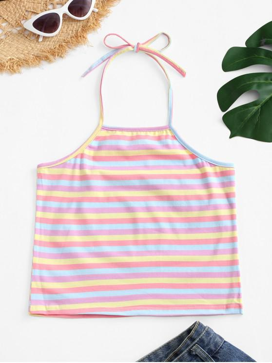 ladies Halter Colorful Stripes Tank Top - MULTI-A L