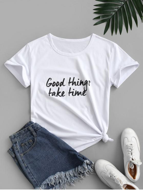 women Good Things Take Time Graphic Basic Tee - WHITE S