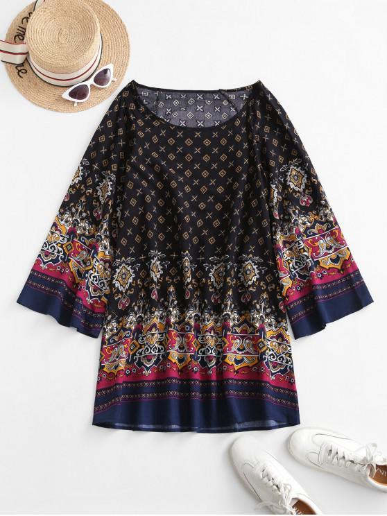 new Long Sleeve Bohemian Printed Tunic Dress - BLACK S