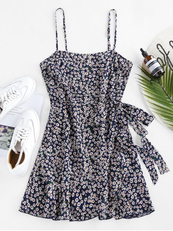 best ZAFUL Ditsy Print Self Tie Flounce Dress - DEEP BLUE S