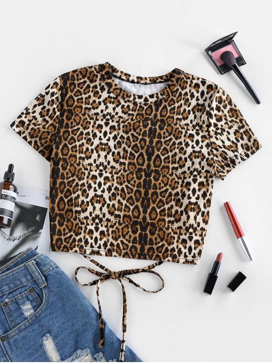 unique ZAFUL Lace Up Leopard Print Cropped T Shirt - WOOD S