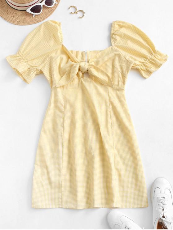 fancy Gingham Tie Front Mini Dress - SUN YELLOW S