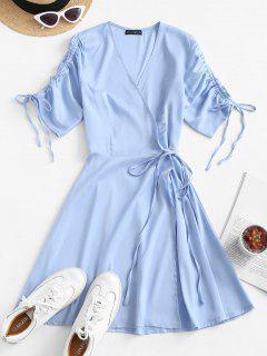 ZAFUL Cinched Sleeve Wrap Mini Dress - Sea Blue L