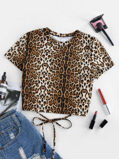 ZAFUL Lace Up Leopard Print Cropped T Shirt - Wood S
