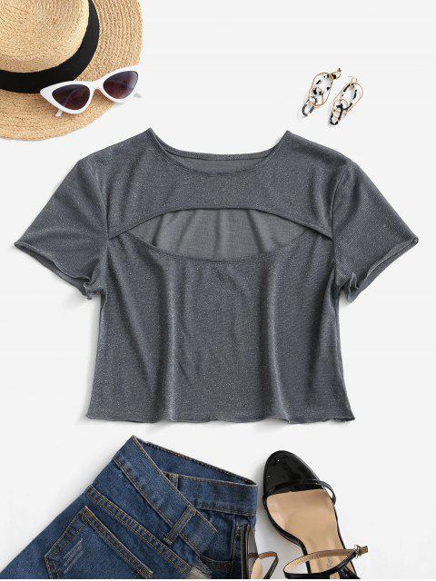 ZAFUL T-shirt Court Découpé Transparent à Paillettes - Gris L Mobile