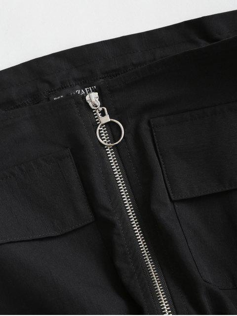 ZAFULオフショルダージッパーポケットクロップトップ - ブラック XL Mobile