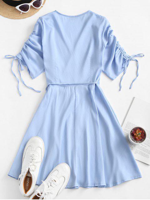buy ZAFUL Cinched Sleeve Wrap Mini Dress - SEA BLUE L Mobile