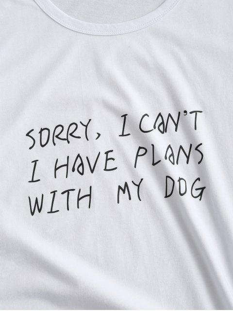 T-shirt Graphique de Base Slogan - Blanc L Mobile