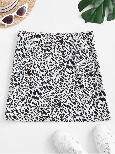 affordable Slit Leopard Velvet Mini Skirt - LEOPARD M Mobile