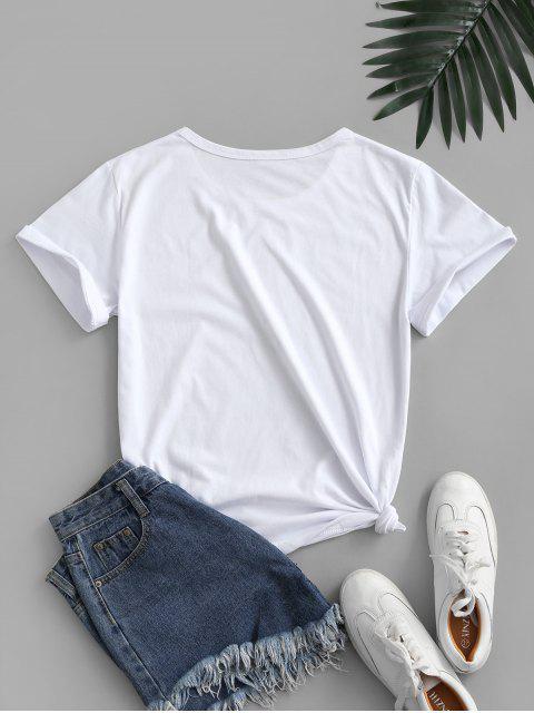 T-shirt de Base Graphique - Blanc M Mobile
