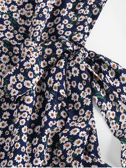 best ZAFUL Ditsy Print Self Tie Flounce Dress - DEEP BLUE S Mobile