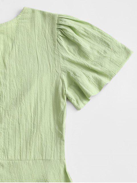 V Ausschnitt Reißverschluss Schatten Streifen Strampler - Hellgrün S Mobile