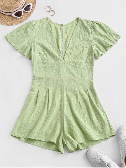womens V Neck Back Zipper Shadow Stripes Romper - LIGHT GREEN L Mobile