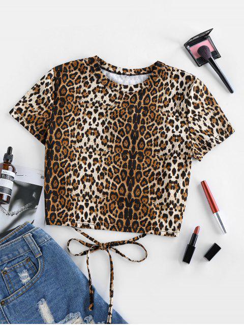 ZAFUL Schnür T-Shirt mit Leopardenmuster - Holz S Mobile