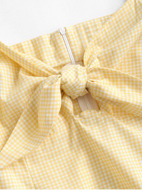 Kariertes Minikleid mit Bindevorderseite - Sonne Gelb S Mobile