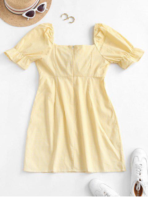 fancy Gingham Tie Front Mini Dress - SUN YELLOW S Mobile
