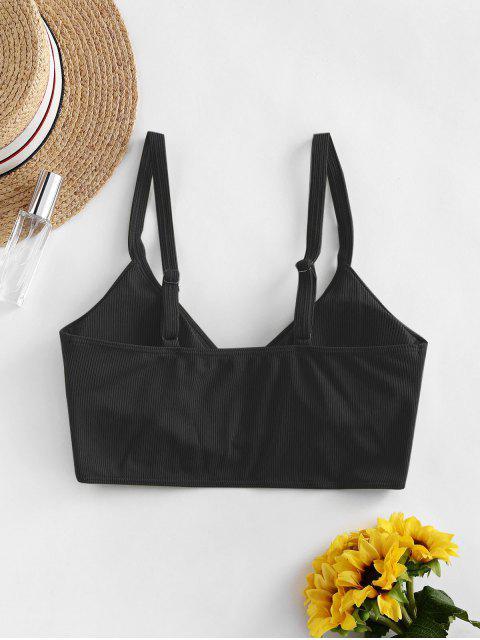 best ZAFUL Ribbed Side Boning Surplice Bikini Top - BLACK S Mobile