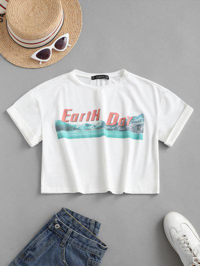 ZAFUL T-shirt De Base Graphique à Manches à Revers - Blanc L