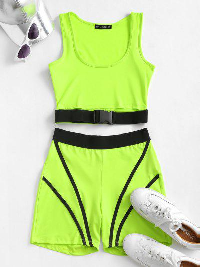 ZAFUL Neon Push Buckle Colorblock Skinny Shorts Set - Green Yellow Xl