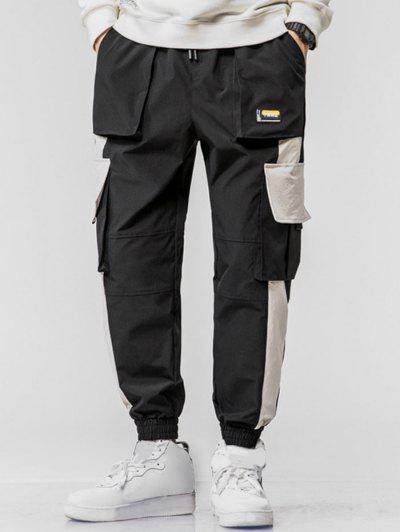 Chinese Character Applique Contrast Cargo Jogger Pants - Black L