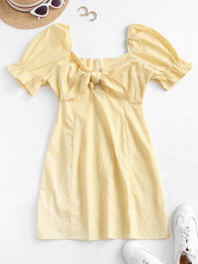 Gingham Tie Front Mini Dress - Sun Yellow M
