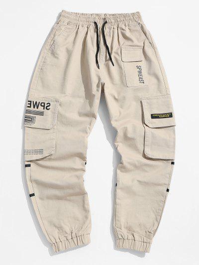 Letter Print Applique Drawstring Cargo Jogger Pants - Light Khaki S