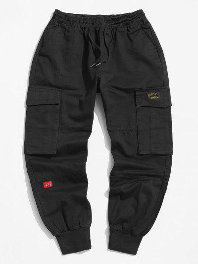 Letter Applique Tapered Cargo Jogger Pants - Black M