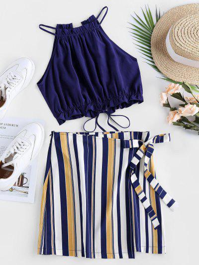 ZAFUL Tied Stripe Two Piece Dress - Dark Slate Blue M