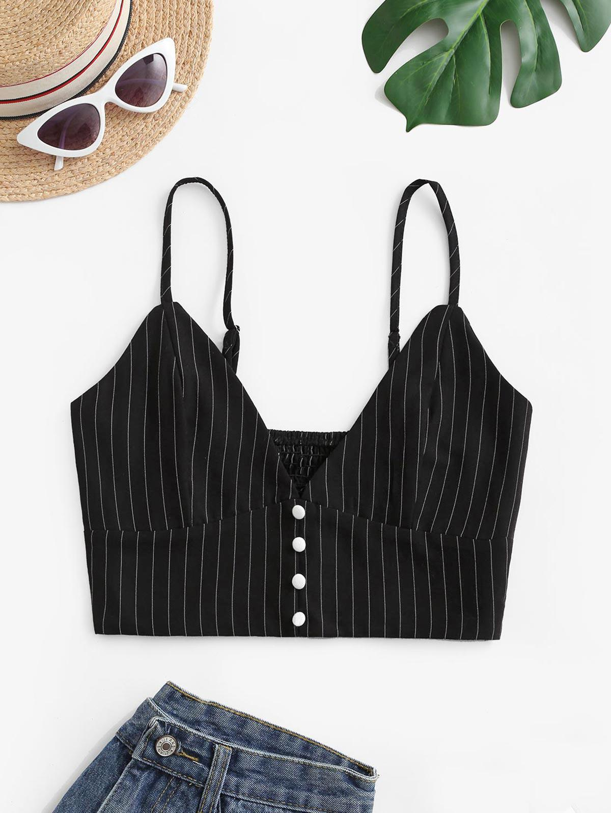ZAFUL Striped Button Embellished Smocked Crop Camisole