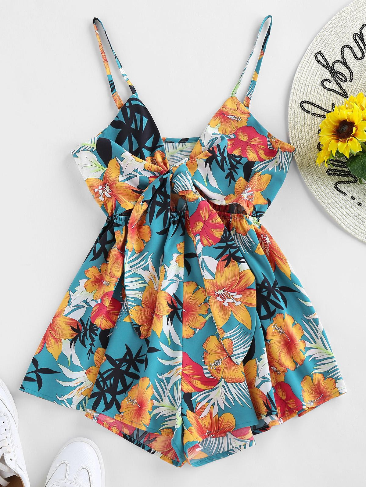 ZAFUL Front Tie Floral Print Cami Romper