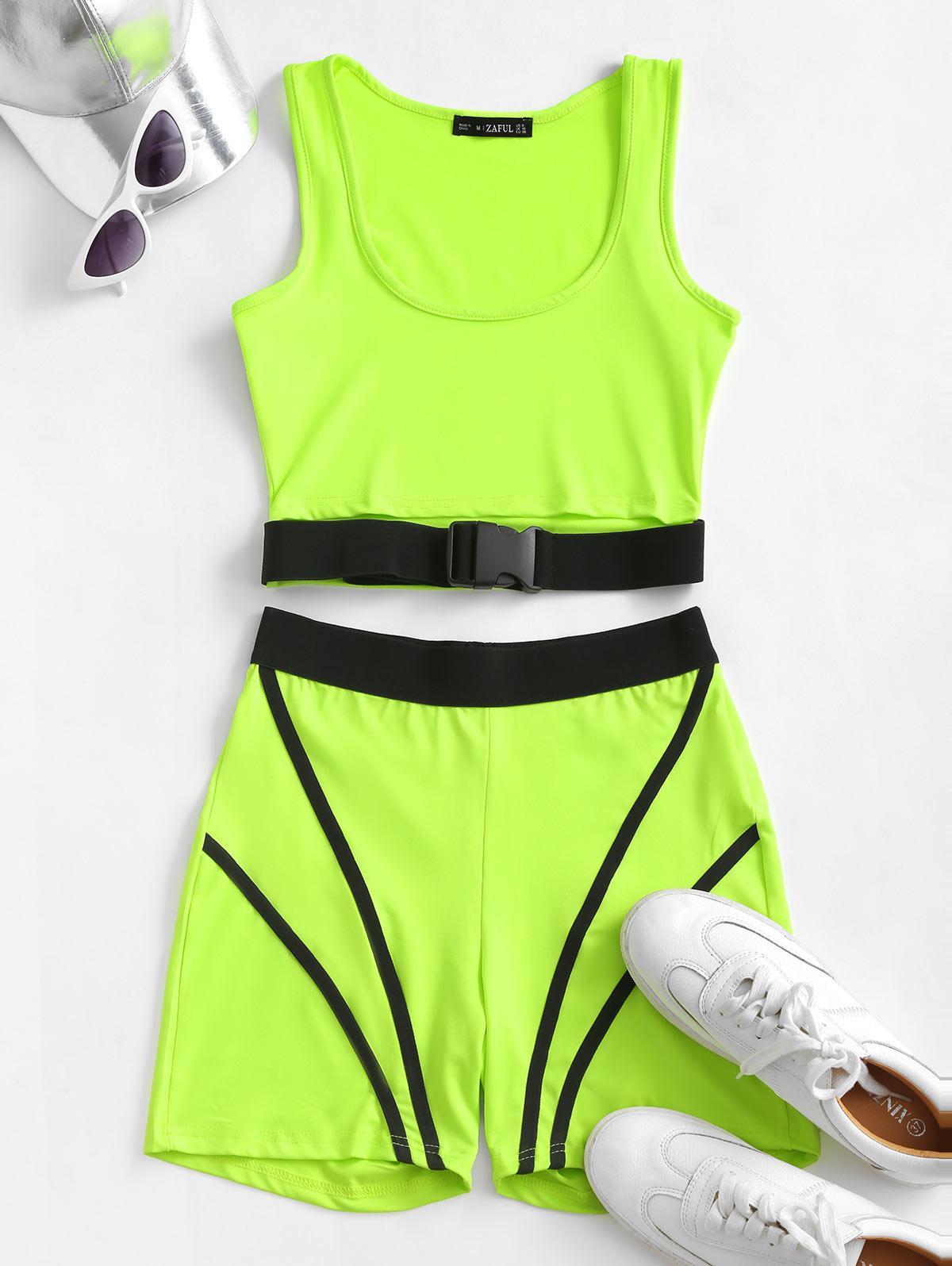 ZAFUL Neon Push Buckle Colorblock Skinny Shorts Set
