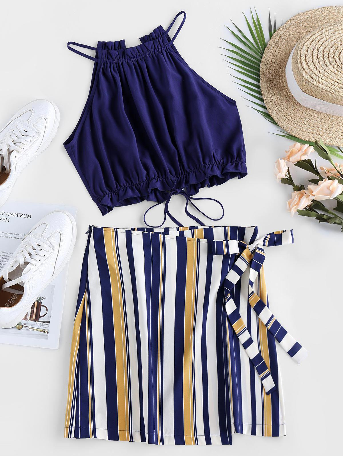 ZAFUL Tied Stripe Two Piece Dress