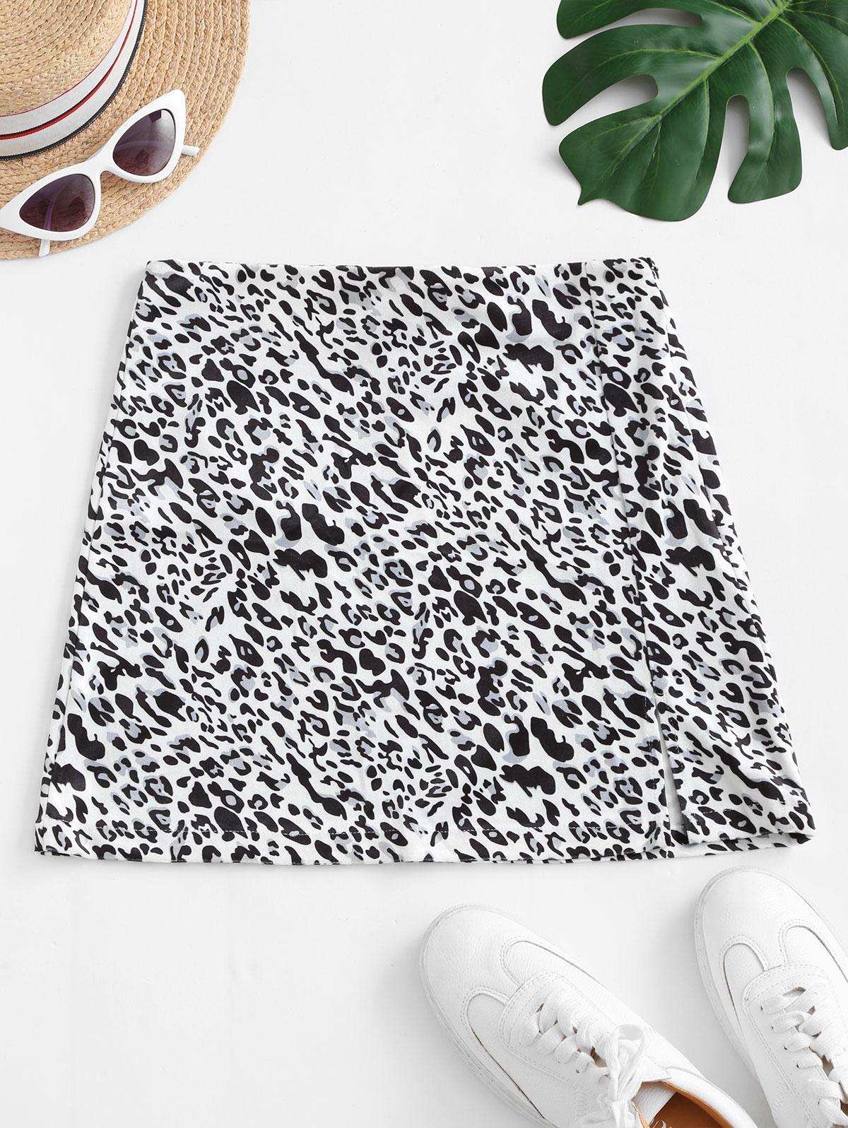 Slit Leopard Velvet Mini Skirt