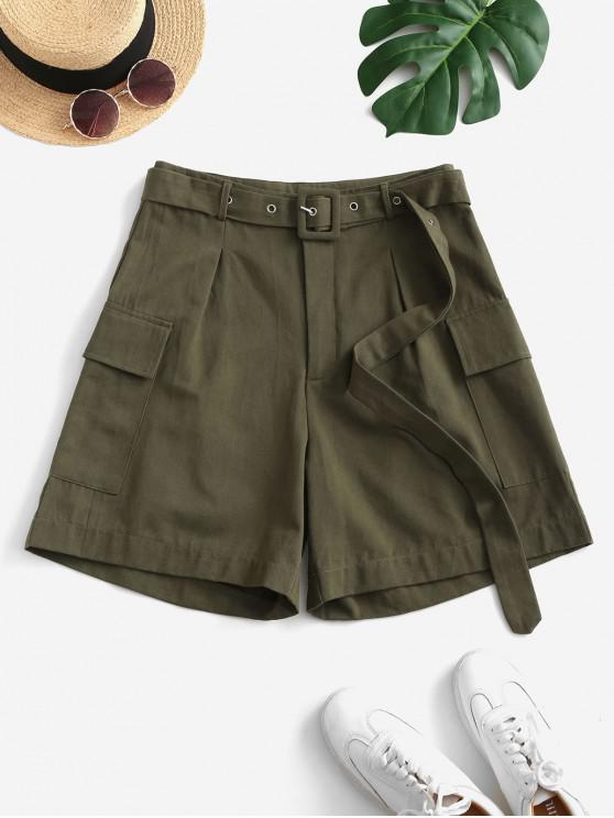 ladies ZAFUL High Waisted Buckle Belted Flap Pockets Cargo Shorts - ARMY GREEN M