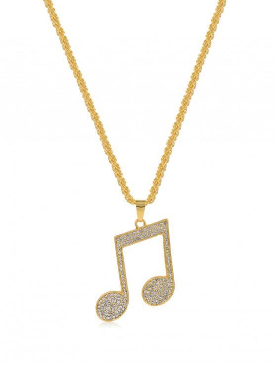 Collar de Nota de Música de Diamantes de Imitación - Oro