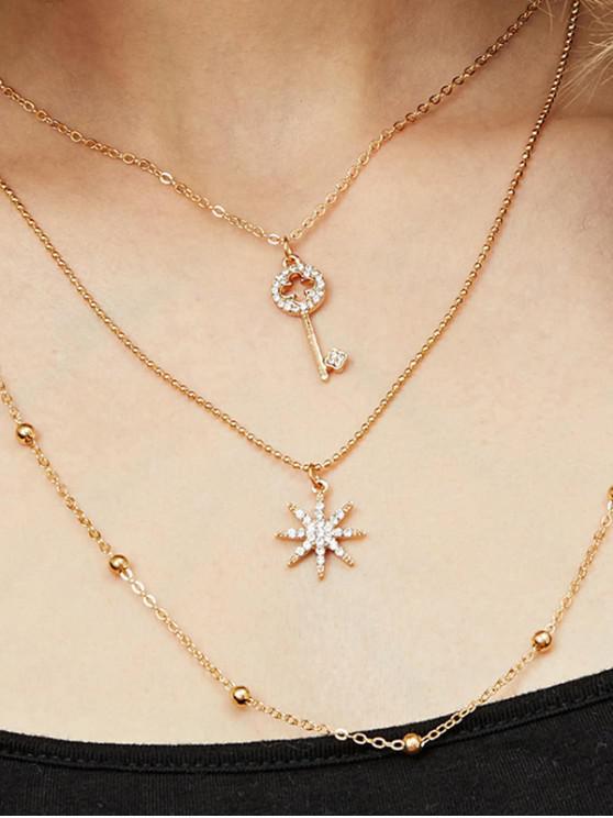 Collar Llave Estrella y Brillantes - Oro