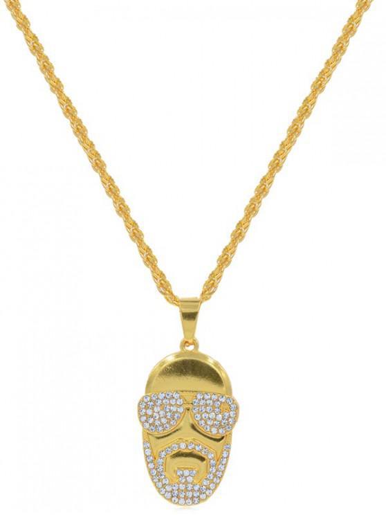 Collar de Forma de Hombre de Diamantes de Imitación - Oro