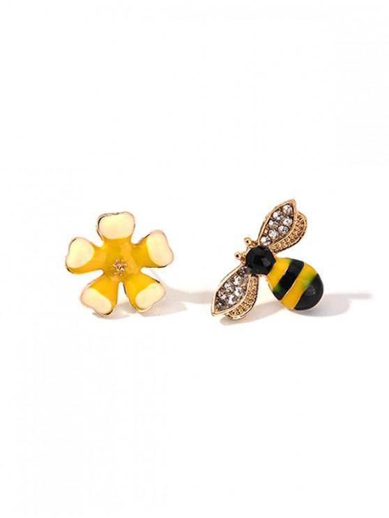 Pendientes de Flores de Abeja de Diamantes de Imitación - Amarillo