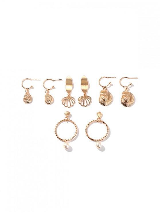 4 Pares de Conjunto de Pendientes de Perlas de Imitación de Concha - Oro