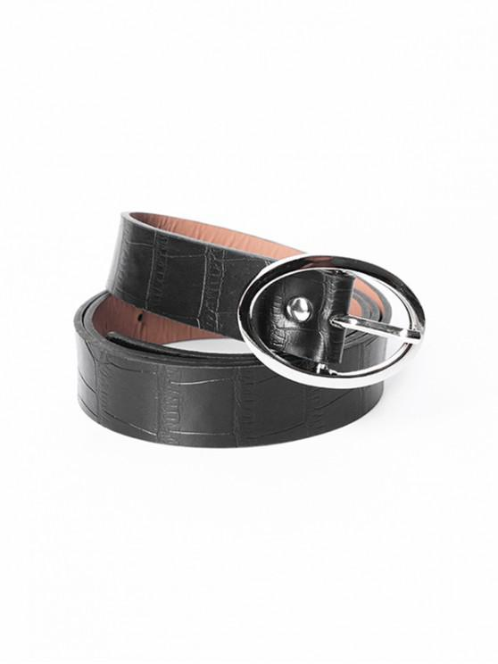 Cinturón Casual Textura Ovalada - Negro