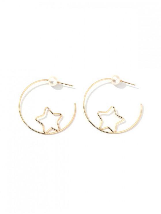 Pendientes de Perlas de Imitación de La Estrella del Corazón - Oro ESTRELLA